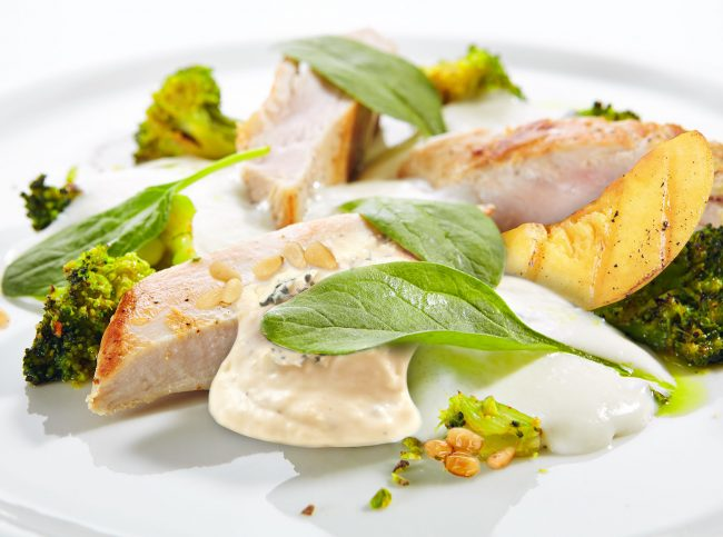 Turkey Fillet with Baked Cabbage Broccoli and Cheese Espuma